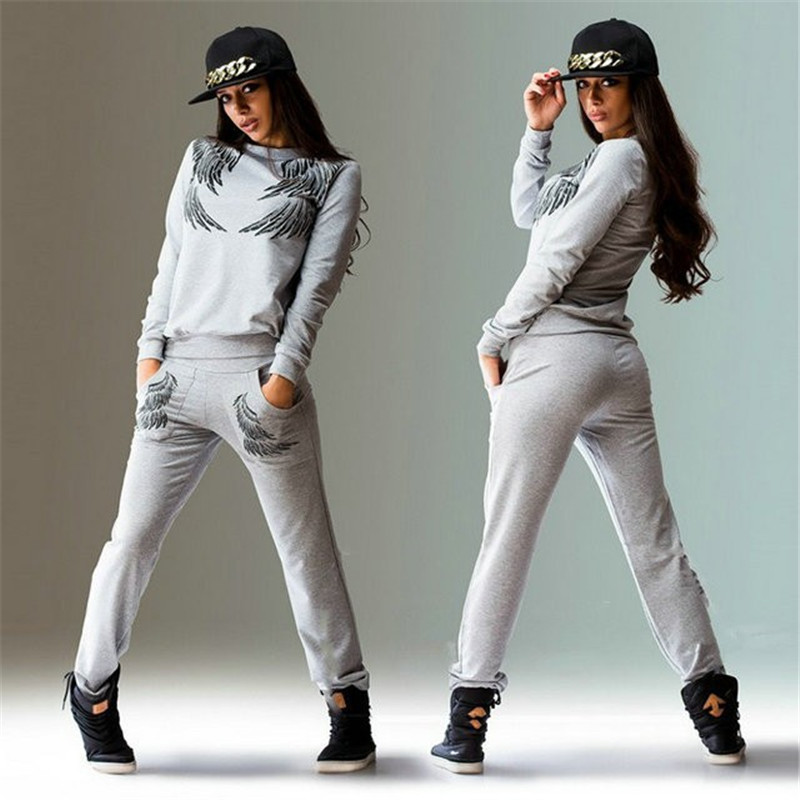 Wing Print Two Piece Set Women Tracksuit Long Sleeve Top And Elastic Waist Pants Ladies 2 Pieces Sweat Suits Conjunto Feminino