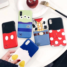 Cute Cartoon Card Pocket Mike Mouse Duck Leather Phone Case For iphone 8 7 6s 6 Plus X XS Max XR Three eyes Cover