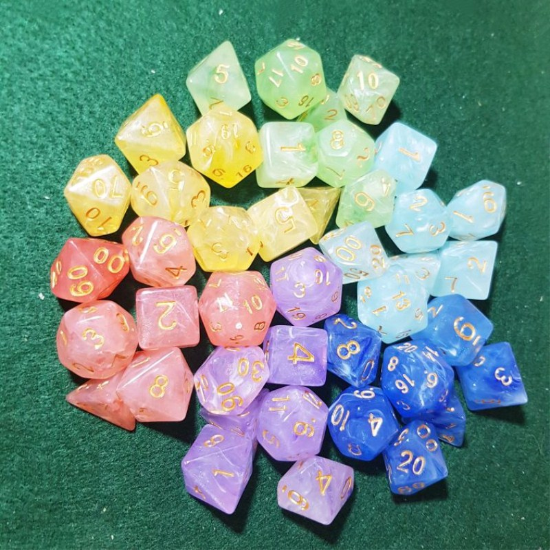 7pcs/set Multifaceted Dice D&d D4 D6 D8 D10 D% D12 D20 Polyhedral TRPG Games Dice Set Board Game Entertainment Dice