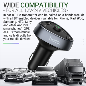 Image 5 - Hoco in Car Charger BT FM Radio Transmitter Wireless Handsfree Audio Receiver Dual USB Type C 18W Fast Charging TF USB playback