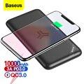 Baseus Qi Беспроводное зарядное устройство 10000 мАч Внешняя батарея 18 Вт быстрая Беспроводная зарядка повербанк для iPhone samsung Xiaomi