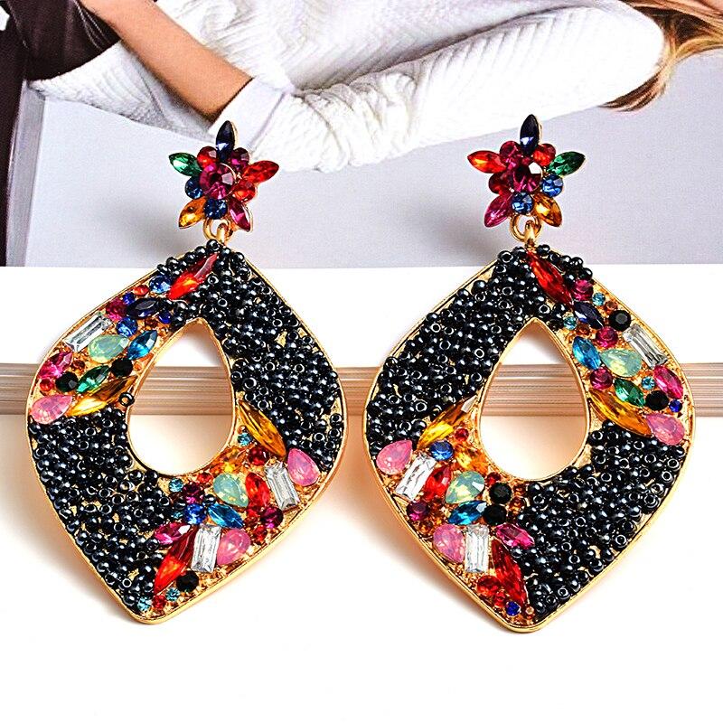 Длинные металлические серьги ручной работы с разноцветными кристаллами, модные серьги-подвески высокого качества, ювелирные аксессуары-се...