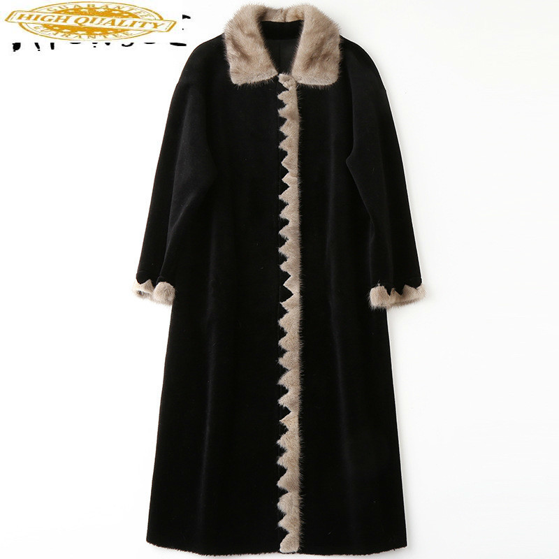Real Fur Coat Winter Coat Women Real Fur Jacket Korean Mink Fur Collar 100% Wool Jacket Sheep Shearing HQ18-ZZH1821C YY1834