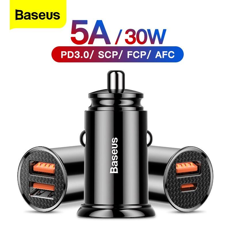 Baseus araç şarj hızlı şarj 4.0 3.0 QC4.0 QC 3.0 SCP 5A USB tip C PD hızlı şarj için iPhone xiaomi mi 9 8 Huawei P30 Pro