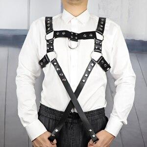 Image 4 - UYEE Erotische Leder Harness Punk Gürtel Für Männer Gothic Körper Bondage Custome Käfig Sexy Brust Strumpfband Gürtel Dessous Clubwear LM 003