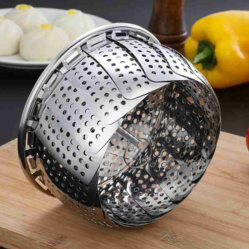 Multifunctional Folding Pot Retractable Stainless Steel Food Vegetable Drainage Basket Pan Steamer Pan Folding Steamer