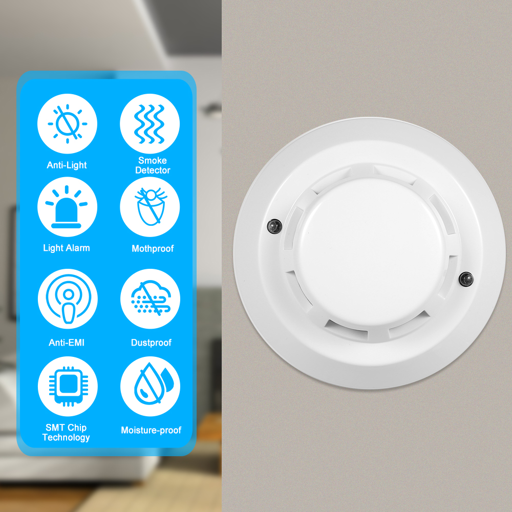 Wired Photoelectric Smoke Detector High Sensitive Smoke Alarm Sensor Fire Alert Protection Anti Burning Connect to Wired Zone