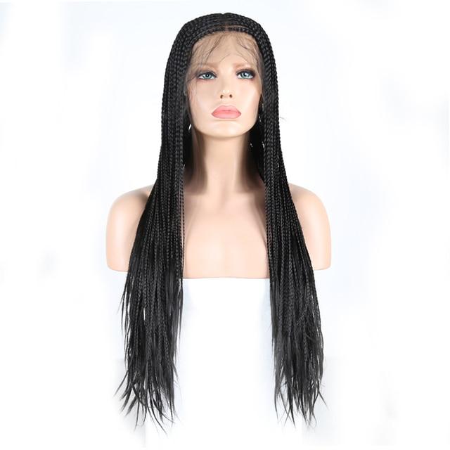 Charyzma 13X6 głębokie częściowo koronka peruki długie pudełko pleciony peruka z Baby włosów część środkowa syntetyczna koronka peruka Front dla czarnych kobiet