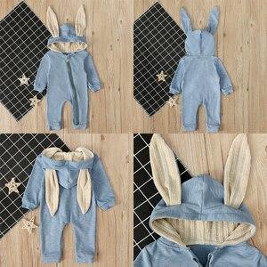 Осень-зима 2020, детская одежда, комбинезон для новорожденных мальчиков и девочек с ушками кролика, одежда с длинным рукавом, комбинезон с кроличьими ушками, теплый комбинезон на молнии
