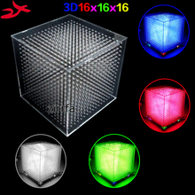 Zirrfa MINI Light cubeeds LED สเปกตรัมดนตรี,3D 16 16x16x16 ชุด DIY อิเล็กทรอนิกส์,จอแสดงผล LED ชิ้นส่วนคริสต์มาสของขวัญ,สำหรับ TF Card