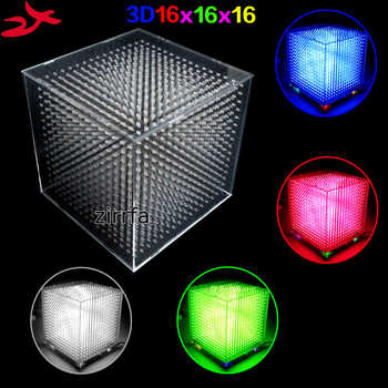 zirrfa mini Light cubeeds LED Music Spectrum,3D 16 16x16x16 electronic diy kit, LED Display parts,Christmas Gift,for TF card - DISCOUNT ITEM  0 OFF All Category