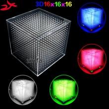 zirrfa mini Light cubeeds LED Music Spectrum,3D 16 16x16x16 electronic diy kit,