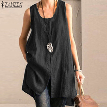Plus Size Women's Split Blouse 2020 ZANZEA Elegant Casual Tops Solid O Neck Cotton Blusas Female Sleeveless Shirts Summer Tunic