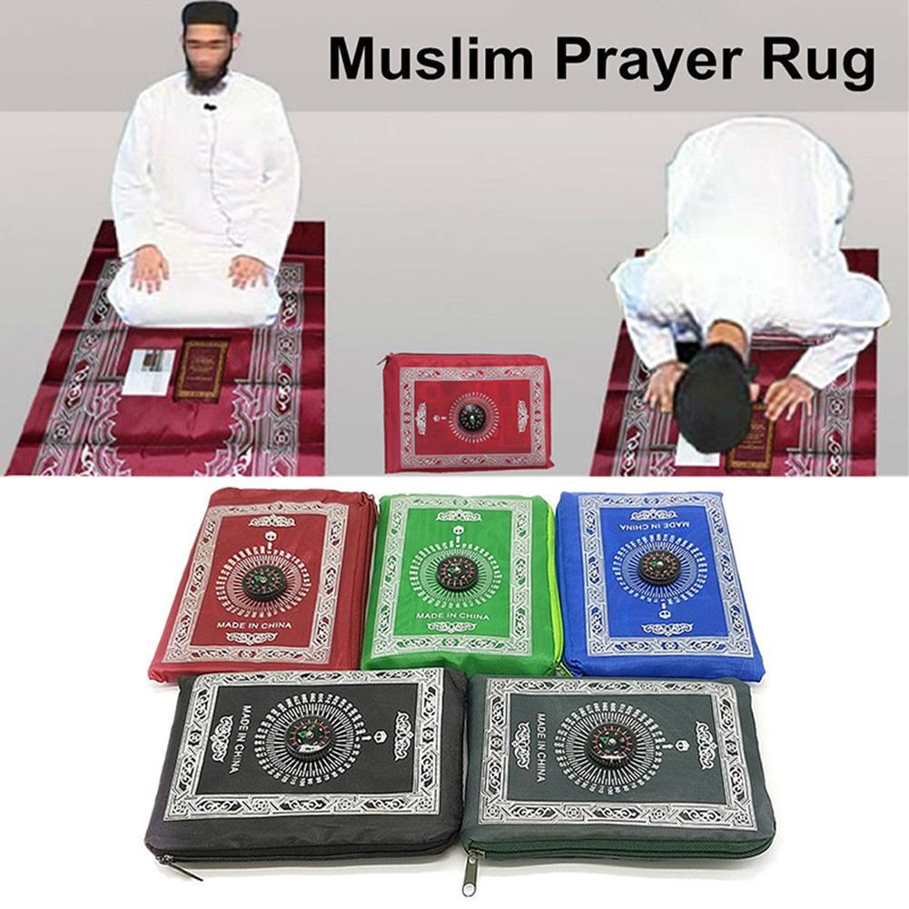 Portable Waterproof Muslim Prayer Mat Rug With Compass Vintage  Pattern Islamic Eid Decoration Gift Pocket Sized Bag Zipper Style  -