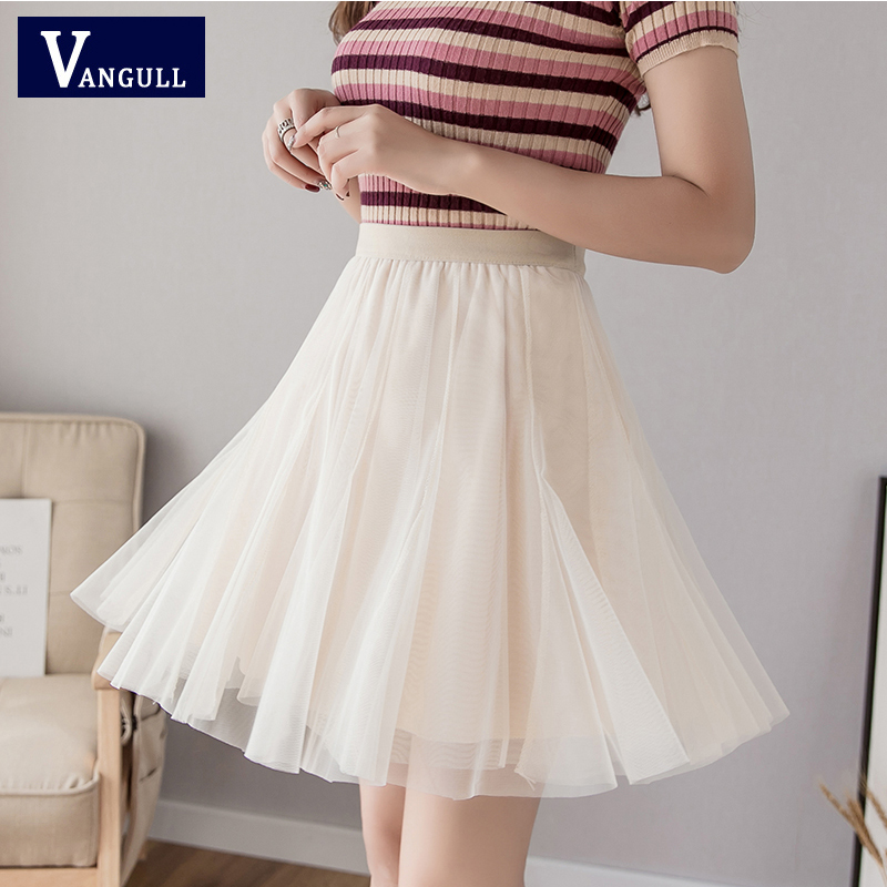 Vangull Solid Mesh Mini Ball Gown Skirt Women Summer High Elastic Waist Fairy Skirt Slim Fashion Sweet Chic Elegant Lovely Skirt