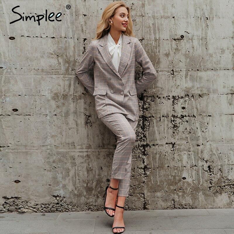 Simplee Elegant Office Ladies Plaid Blazer Suit Double Breasted Pockets Female Blazer Pants Set Streetwear Women Blazer Set 2020