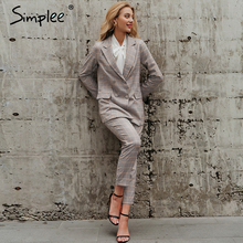 Simplee Office ladies plaid blazer suit Double breasted pockets female blazer pa