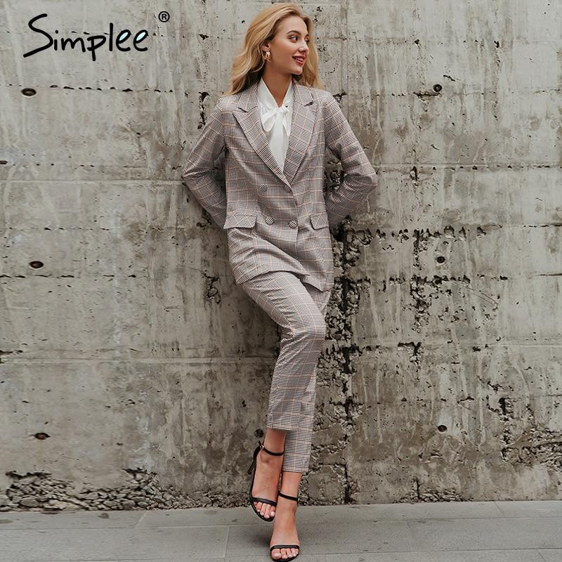 Simplee Office Ladies Plaid Blazer Suit Double Breasted Pockets Female Blazer Pants Set Streetwear Elegant Women Blazer Set