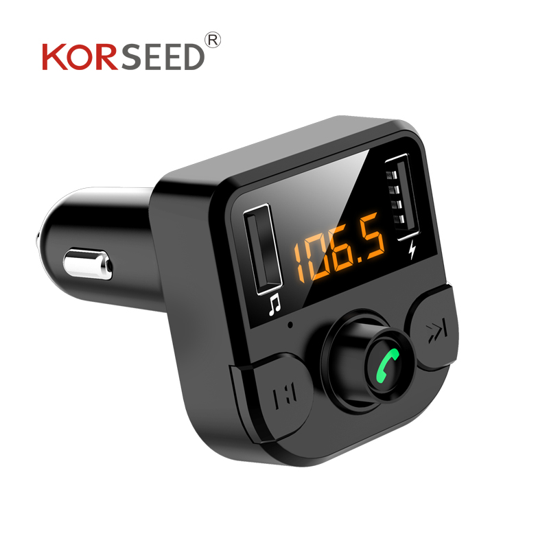 Image 2 - KORSEED Dual USB car charger with FM transmitter Bluetooth hands free FM modulator car phone charger for  iPhoneCar MP3 Players   -