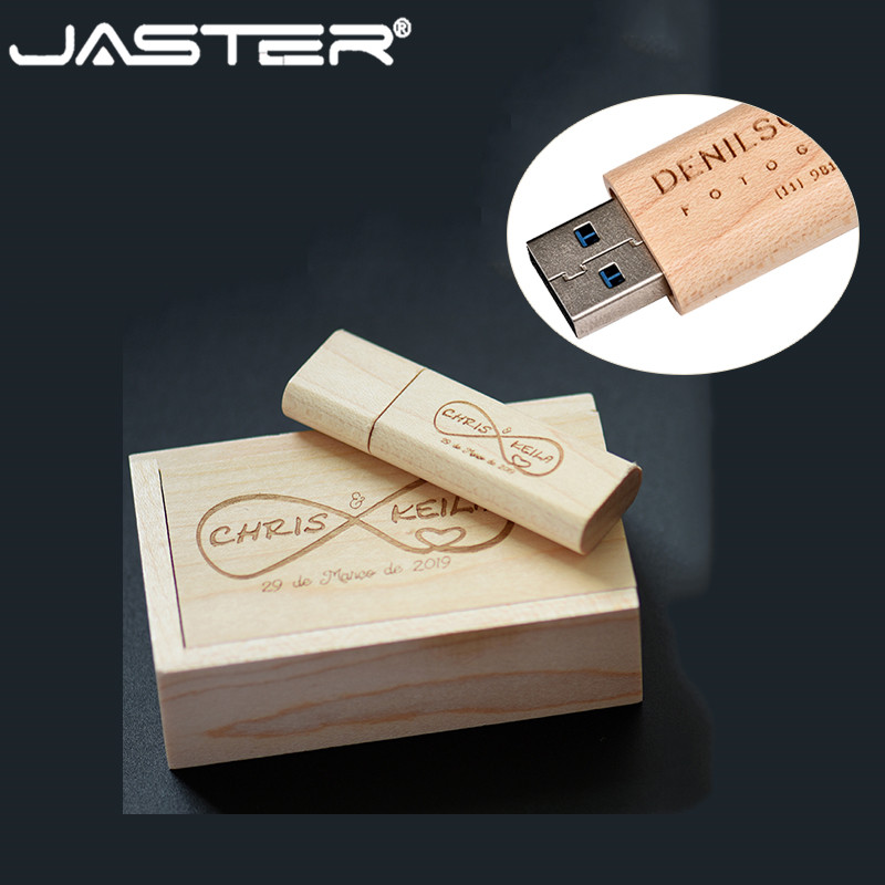 JASTER Hot Wooden USB Flash Drive Pen Drives Maple Wood+Packing Box Pendrive 4GB 8GB 16GB 32GB 64GB Memory Stick Wholesale
