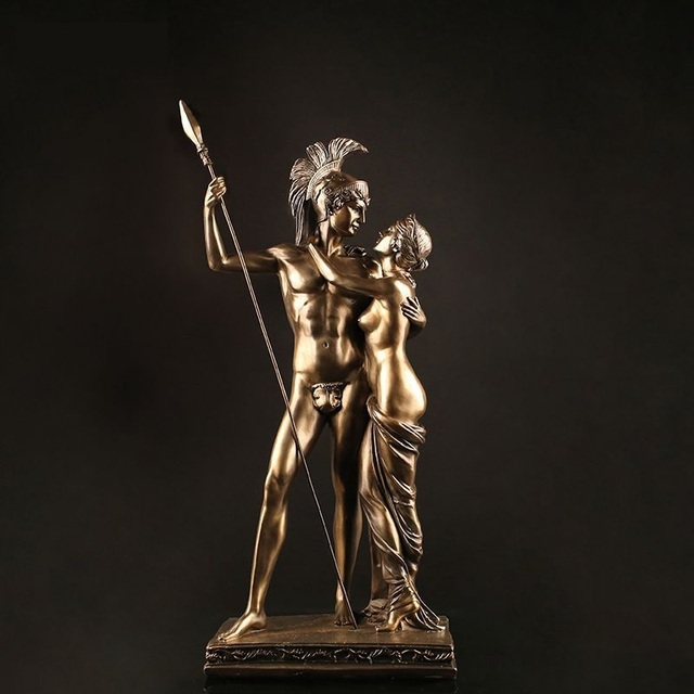 Antique Roman Lovers Warrior Sculpture Handmade Resin Statue 1