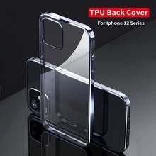 Kaya iPhone 12 Pro Max TPU galvanik koruma kılıf yumuşak Ultra ince darbeye dayanıklı geri durumda iPhone 12/12 Pro/12 Mini