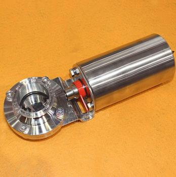 """3/4""""-2"""" SUS304 Stainless Steel Sanitary Pneumatic Vertical Tri Clamp Butterfly Valve Homebrew"""