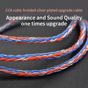 Image 1 - 3.5mm do MMCX 0.75mm 2pin 8 rdzeń galwanicznie srebrny ulepszony wymiana kabla kabel słuchawek dla KZ ZST ZS10 Pro CCA C10