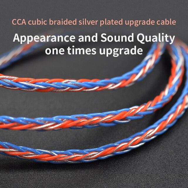 3.5mm do MMCX 0.75mm 2pin 8 rdzeń galwanicznie srebrny ulepszony wymiana kabla kabel słuchawek dla KZ ZST ZS10 Pro CCA C10