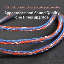 3.5mm do MMCX 0.75mm 2pin 8 rdzeń galwanicznie srebrny zmodernizowany kabel wymiana kabel słuchawek dla KZ ZST ZS10 Pro CCA C10