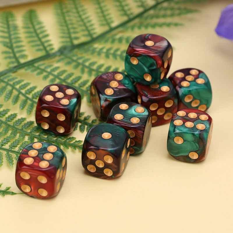 10 шт. 16 мм игральные кубики из каучука D6 красные зеленые золотые точки закругленные края KTV бар ночной клуб развлекательные инструменты игрушки для взрослых