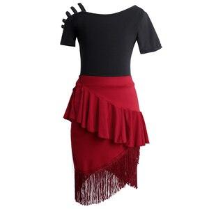 Image 3 - Shoulder Out Latin Dance Fringe Dresses Women Performance Black Red Tango Cha Cha kids Dress for Girls