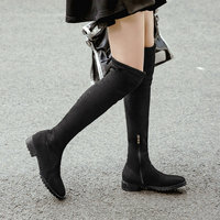 Winter Women Boots Fashion Stretch Knee High Boots Faux Suede Low Heel Long Boots Zipper Autumn Woman Boots Shoes Big Size 34 43