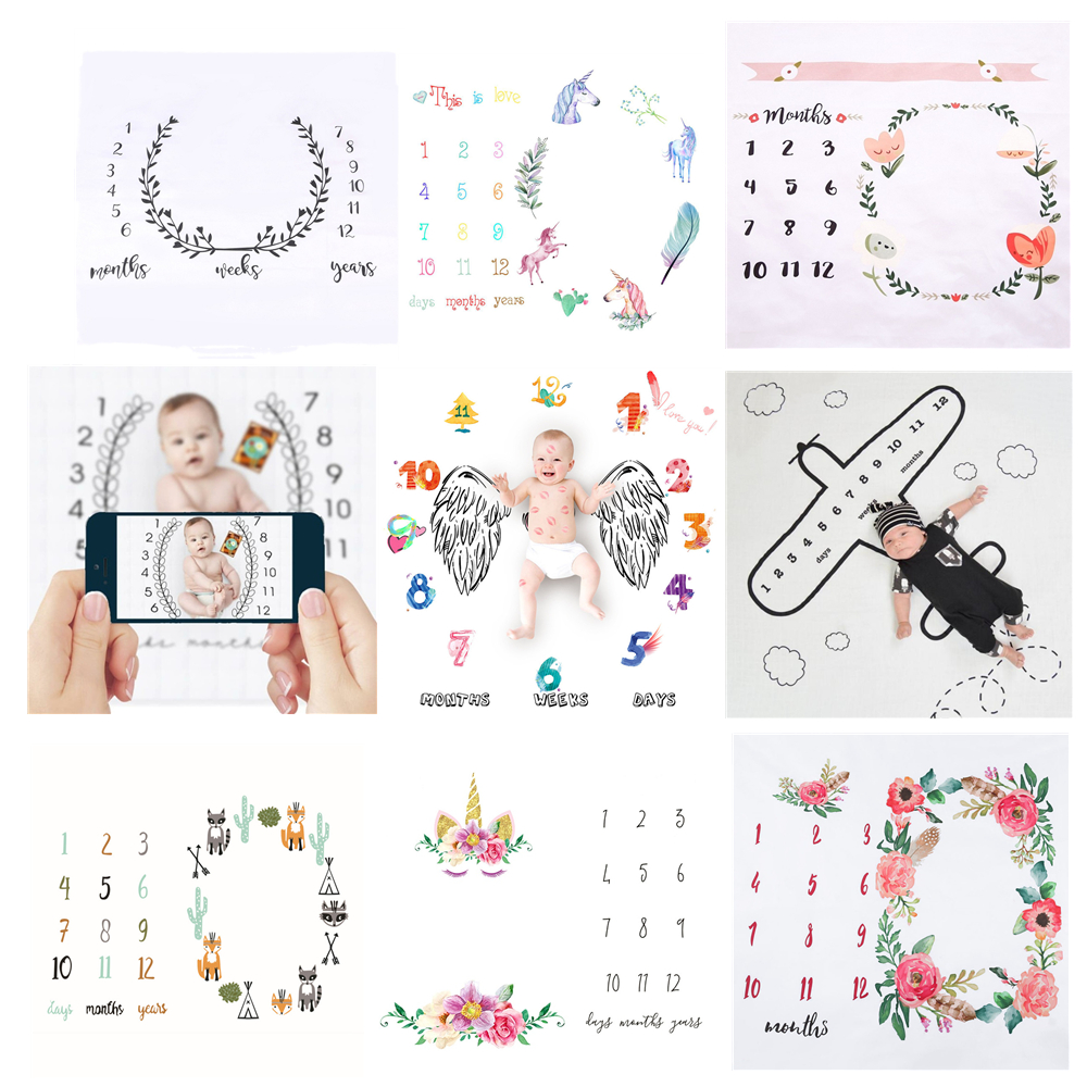 Baby Milestone Background Photo Blanket Kids Play Mat Photo Carpet Infant Photo Backdrop Cloth Calendar Photo Props Accessories