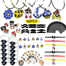 цена Pirate Party Favors For Kids Tattoo Pirate Eye Patch/Keychain/Rings/Necklace Captain Kids Halloween Pirate Party Supplies Decor онлайн в 2017 году
