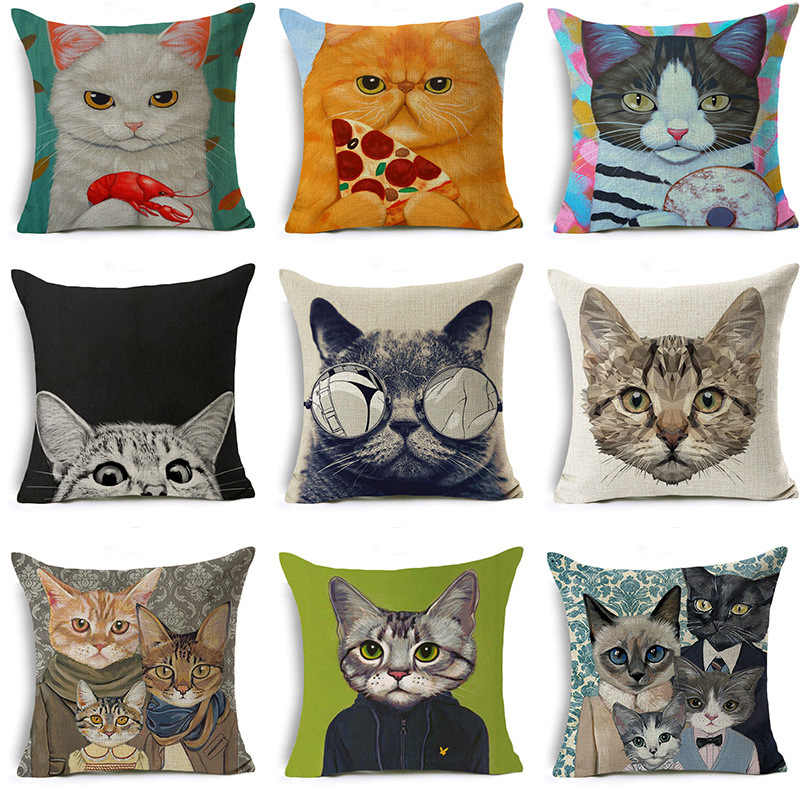 Cute Kitten Animal Cushion Cover Cat Print Linen Pillow Covers Sofa Couch Throw Pillows Lovely Kitty Modern Decorative Pillows