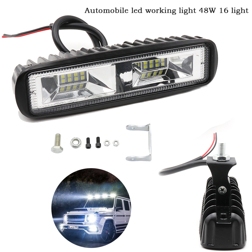 Automobile <font><b>LED</b></font> work 48w16 <font><b>light</b></font> 12v-24v 48W <font><b>16</b></font> <font><b>LED</b></font> <font><b>light</b></font> strip work <font><b>light</b></font> flood <font><b>light</b></font> bulb automobile driving for jeep truck image
