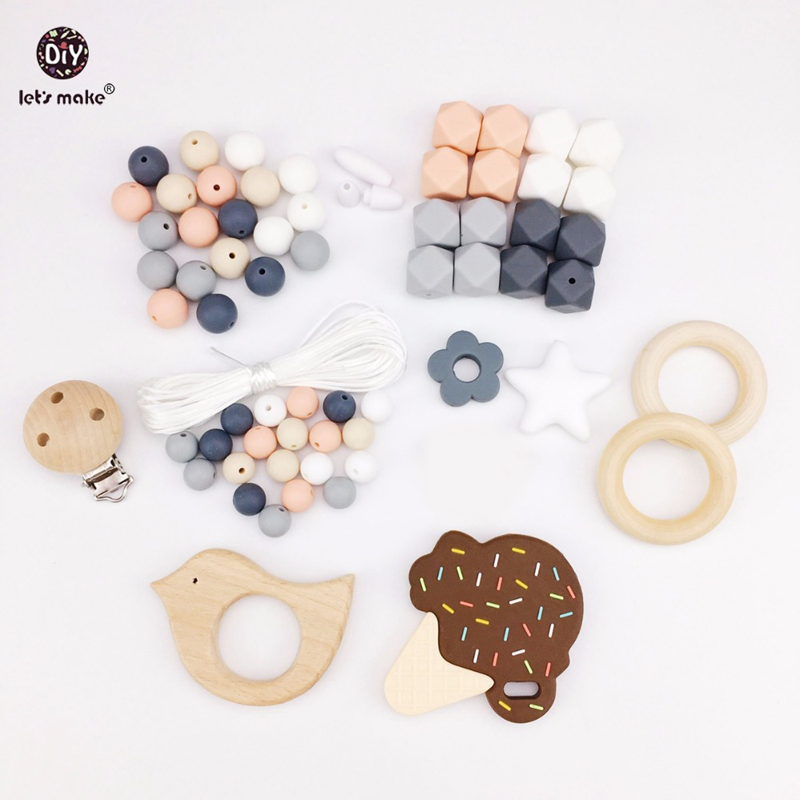 Let's Make Baby Teether Accessories Silicone Beads Ice Cream Wooden Bird Pacifier Clip DIY Jewelry Nursing Teething Necklace