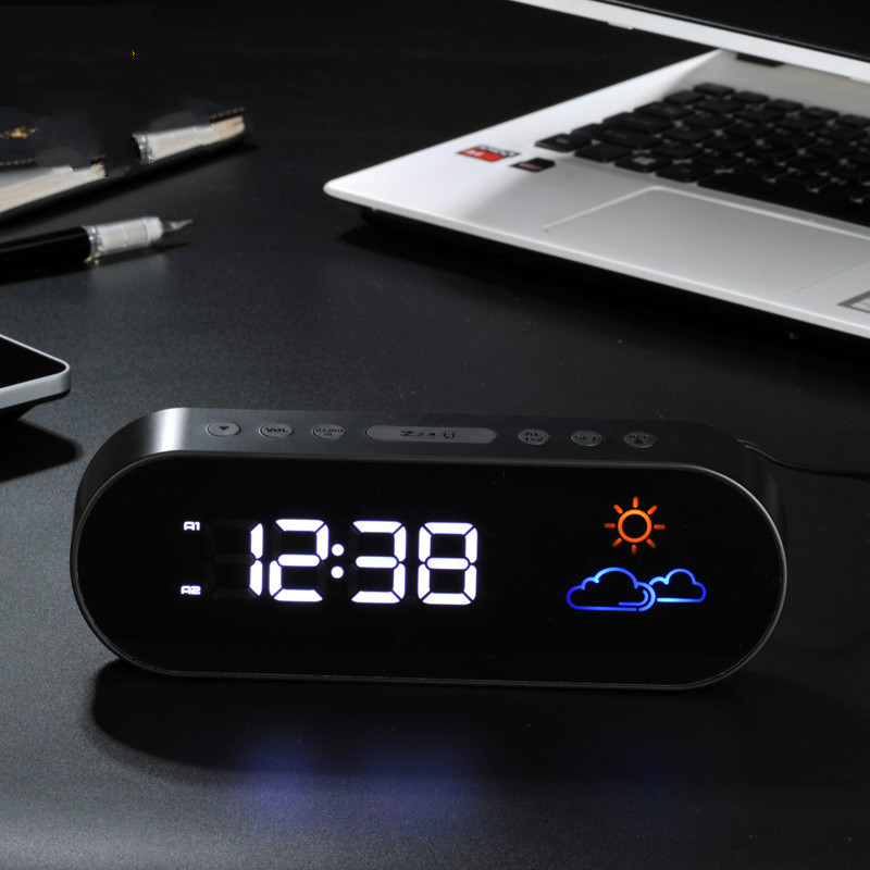 Electronic Weather Forecast Alarm Clock Fm Radio Led Digital Colorful Adjustable Brightness Desk Mute Snooze Watch
