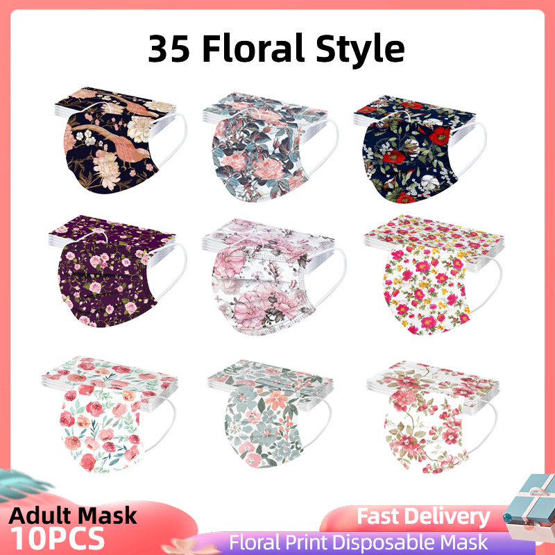 10 шт. взрослых Mascarillas Desechables трехслойная одноразовая маска защитный Цветочный принт маска для лица Mondkapje маска 35 Стиль