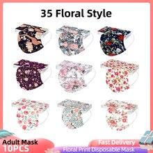 10 pçs adultos mascarillas desechables máscara descartável de três camadas protetora floral impressão máscara facial mondkapje masque 35 estilo