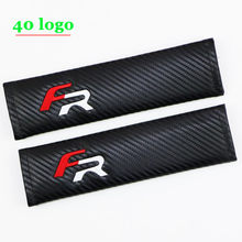 2Pcs Carbon Fiber FR Logo Seat Belt Shoulder Pads Covers for FR Seat Porsche Citroen Benz Peugeot Gti Chevrolet Jeep Smart Audi(China)