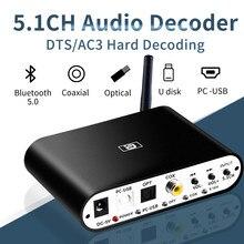 Nova da615u 5.1ch decodificador de áudio bluetooth 5.0 reciever dac adaptador de áudio sem fio óptico coaxial u play PC-USB dac dts atualizar