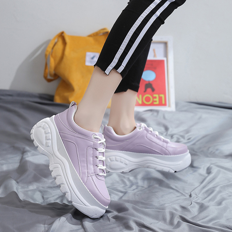 Dad Sneakers Chunky Women Casual Vulcanize Shoes Heel Lace Up Basket Wedges Platform White Shoes Walking Shoes Trainers Footwear