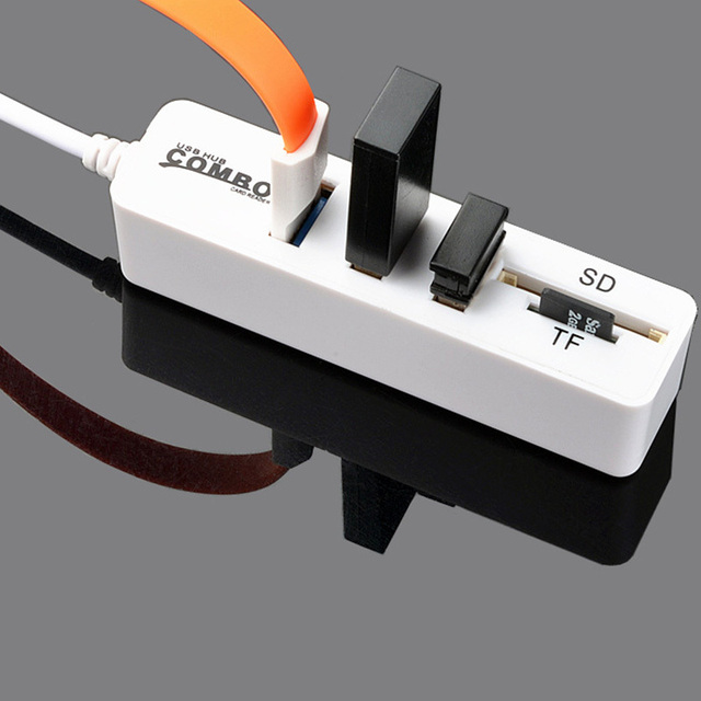 New USB 2.0HUB Hub with SD TF All in One Card Reader 3+2 Combo  Multi function Card Reader