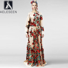 Maxi Dress AELESEEN Fashion Plus-Size Luxury Embroidery Flower Sequined Party Women Red