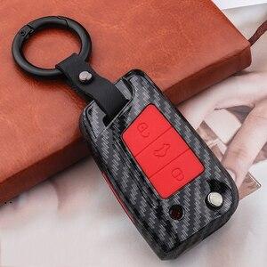 Image 4 - سيليكون ألياف الكربون ABS ماتي سيارة حقيبة غطاء للمفاتيح ل Volkswagen VW Golf7 mk7 مقعد إيبيزا ليون FR 2 ألتيا ازتيك لسكودا اوكتافيا