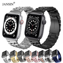 JANSIN Luxury Stainless Steel strap For Apple Watch band 42mm 38mm 44mm 40mm Bracelet pulseira band for iwatch series 6 SE 5 4 3