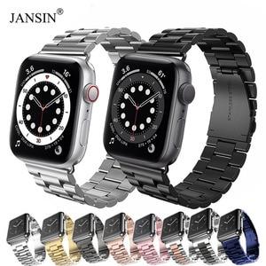 Image 1 - Jansin luxo pulseira de aço inoxidável para apple assistir banda 42mm 38mm 44mm 40mm pulseira banda para iwatch série 6 se 5 4 3