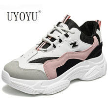 Increased 2019 Autumn Women Casual Sport Dad Shoes Cute Sneakers Platform Leather White Sneakers Tennis Female moda mujer(China)